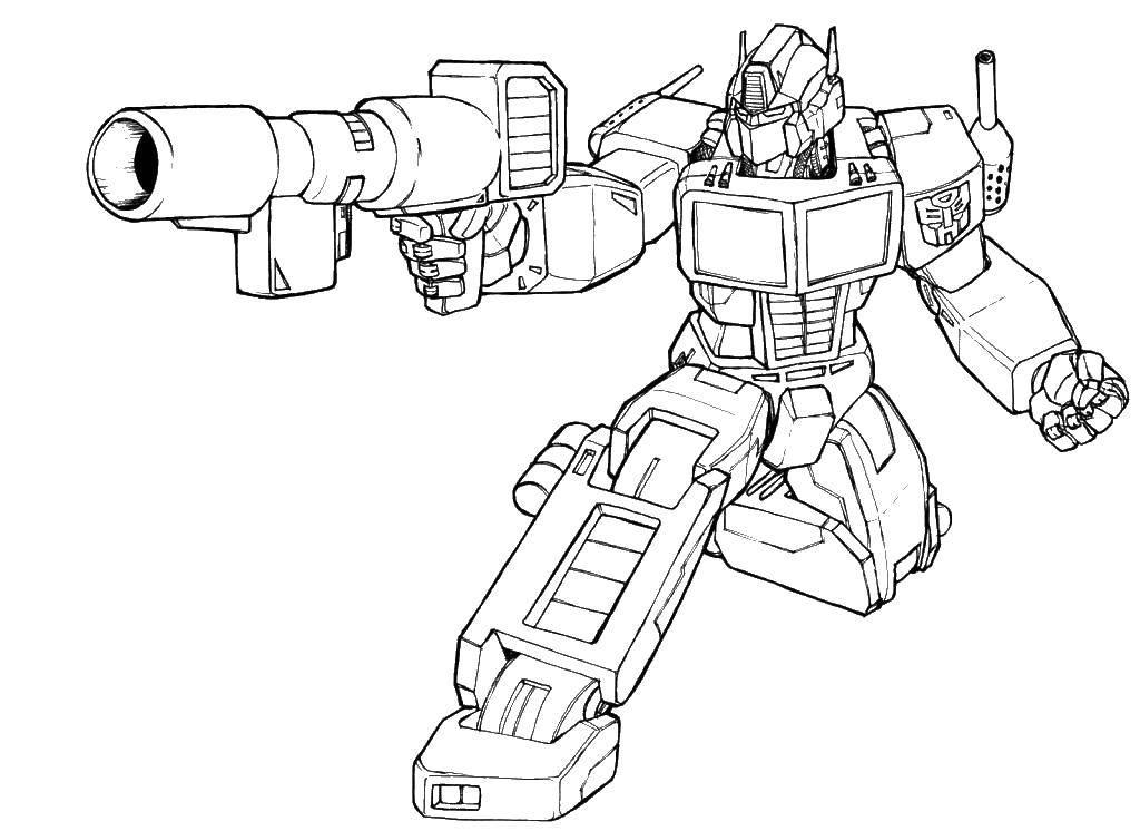 Раскраска Трансформер стреляет. Скачать мультфильмы, трансформеры, роботы, пистолет.  Распечатать ,трансформеры,