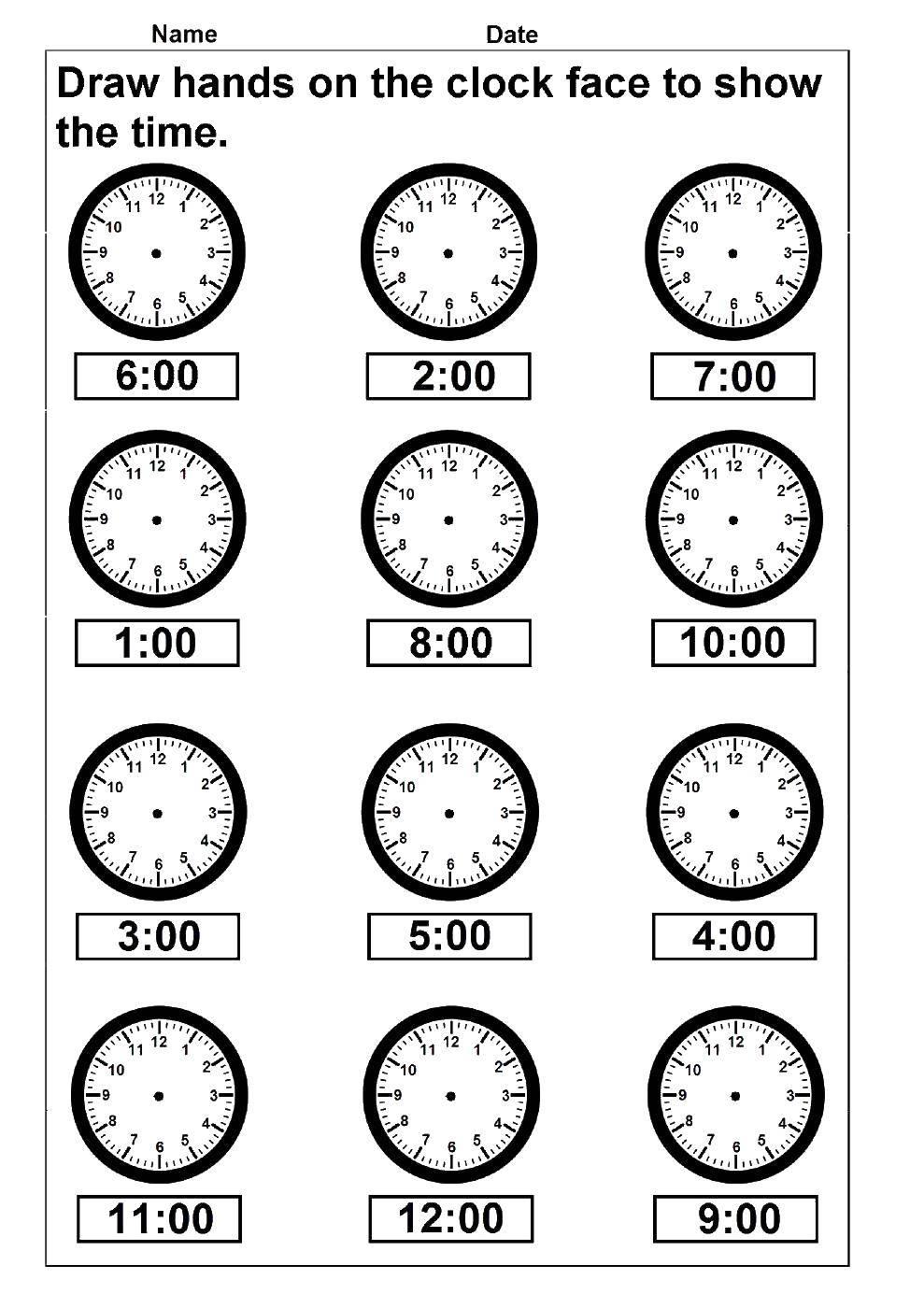 Раскраска Время Скачать ,учим время, часы,.  Распечатать