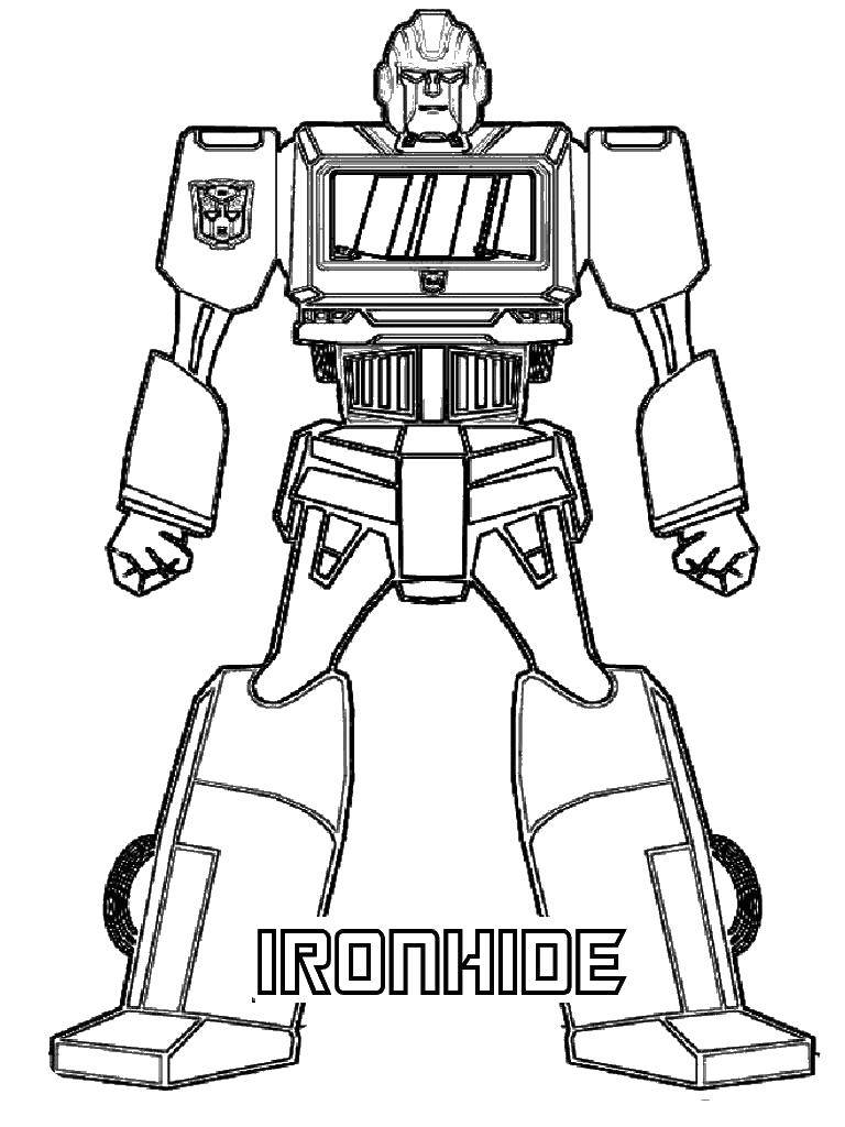 Раскраска Железный трансформер. Скачать трансформер, робот, для мальчиков.  Распечатать ,трансформеры,