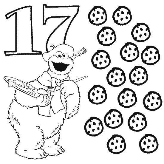 Раскраска 17 печений Скачать Цифры, счёт, числа.  Распечатать ,Цифры,