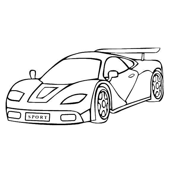Раскраска Автомобиль, спорт Скачать Транспорт, машина.  Распечатать ,Для мальчиков,