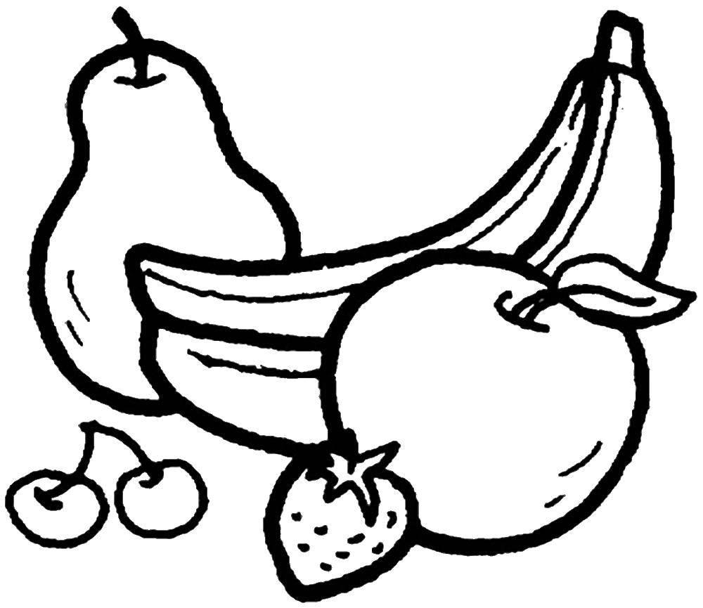 Раскраска Бананы, груша, яблоко вишенки, клубничка Скачать фрукты, ягоды, бананы, груша, яблоко вишенки, клубничка.  Распечатать ,Фрукты,