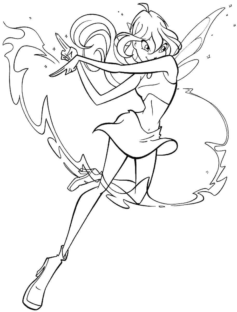 Раскраска Блум с огненным ударом дракона Скачать блум, фея, .  Распечатать ,Винкс,