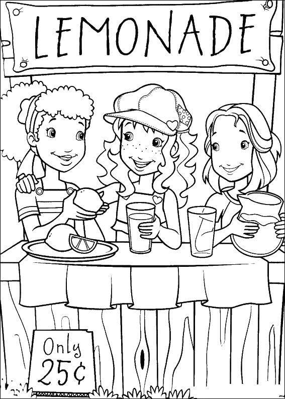 Раскраска Девочки продают лимонад Скачать Дети, девочка.  Распечатать ,Лето,