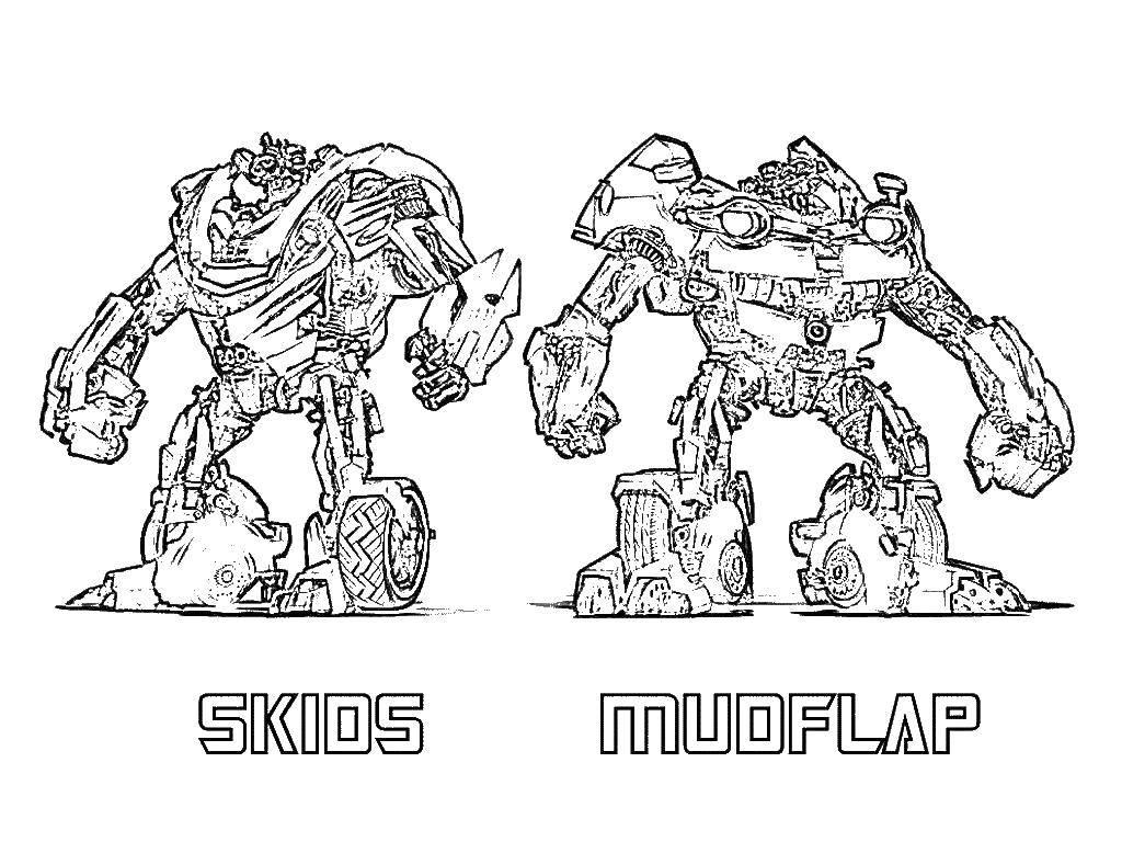 Раскраска Два трансформера. Скачать трансформеры, роботы, мультфильмы.  Распечатать ,трансформеры,