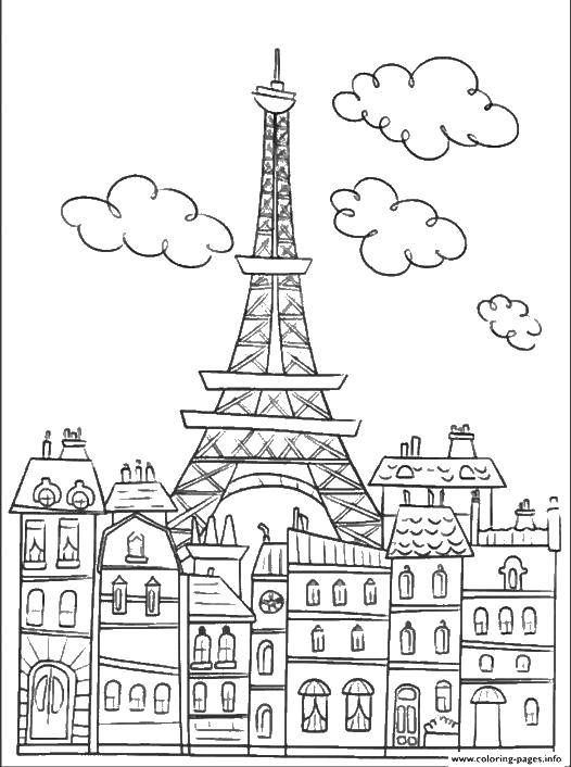 Раскраска Эйфелева башня среди домов Скачать Париж.  Распечатать ,Чудеса Света,