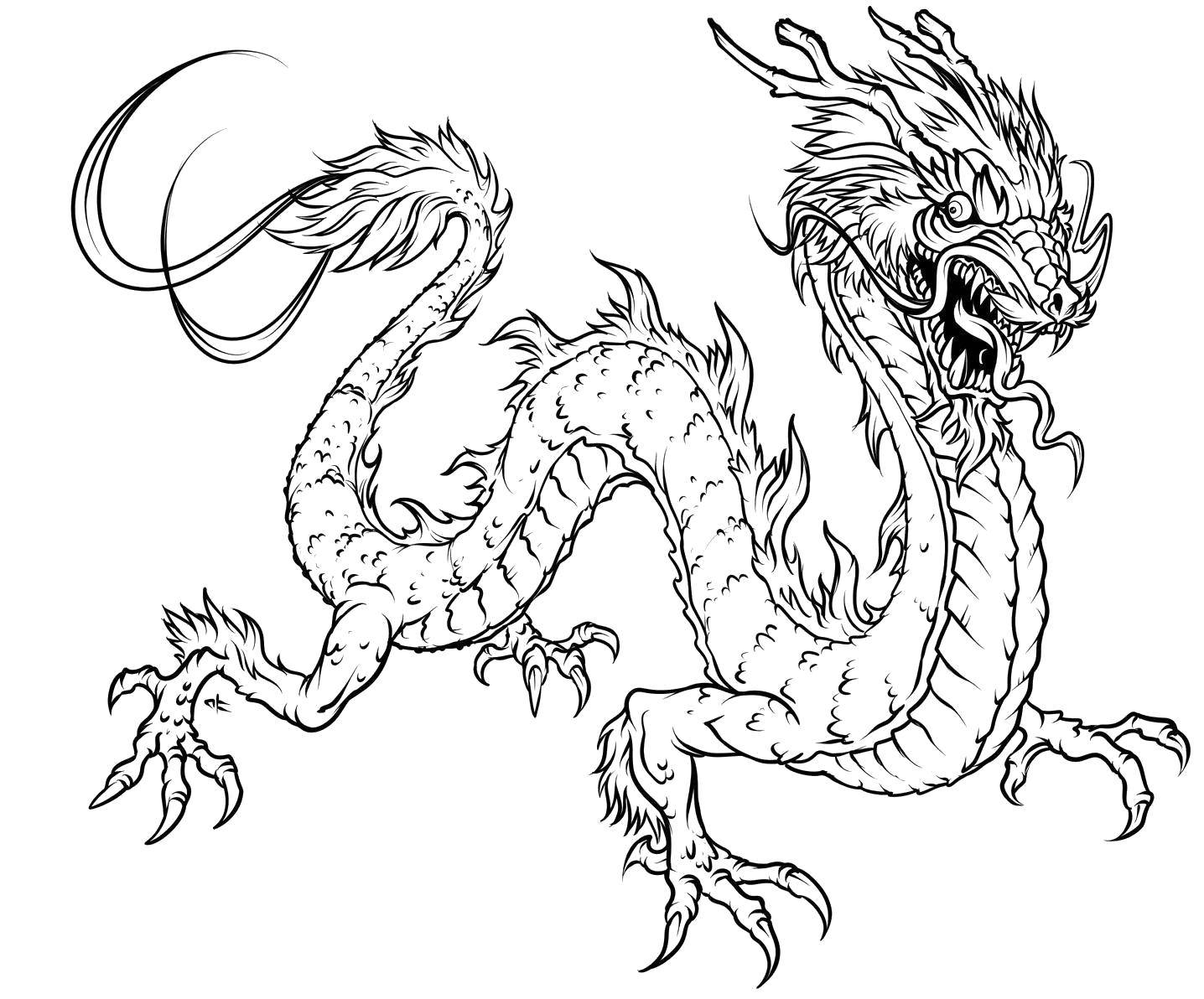 Раскраска Китайский дракон в ярости Скачать Драконы.  Распечатать ,Драконы,