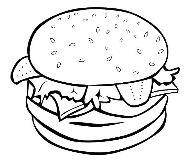 Раскраска Крабсбургер, спанч боб Скачать еда.  Распечатать ,еда,