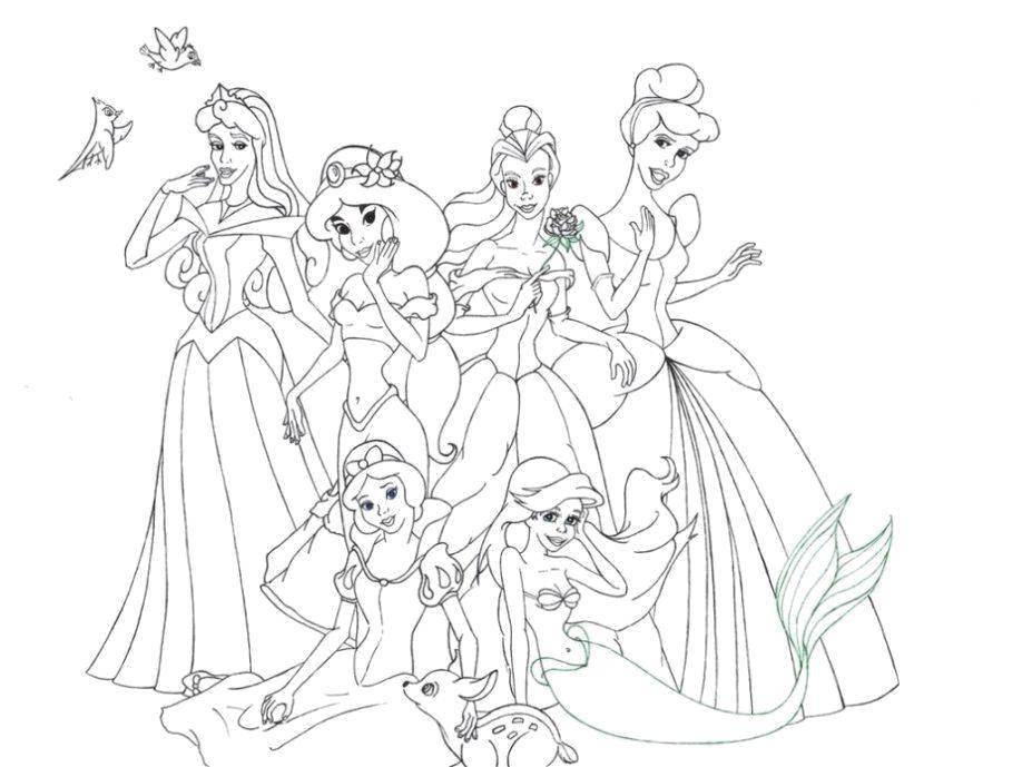 Раскраска Красотки принцессы дисней Скачать Дисней, принцесса.  Распечатать ,Диснеевские раскраски,