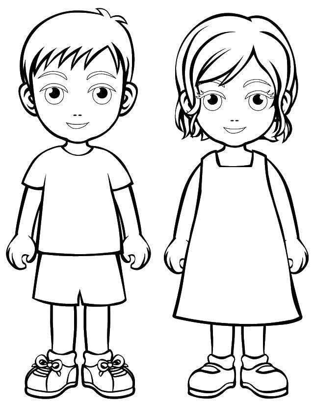 Раскраска Маленькие мальчик и девочка Скачать дети, мальчик, девочка.  Распечатать ,дети,