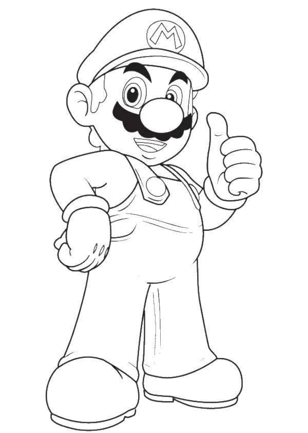Раскраска Марио. Скачать игры, Марио, сега, Супер Марио.  Распечатать ,Персонаж из игры,