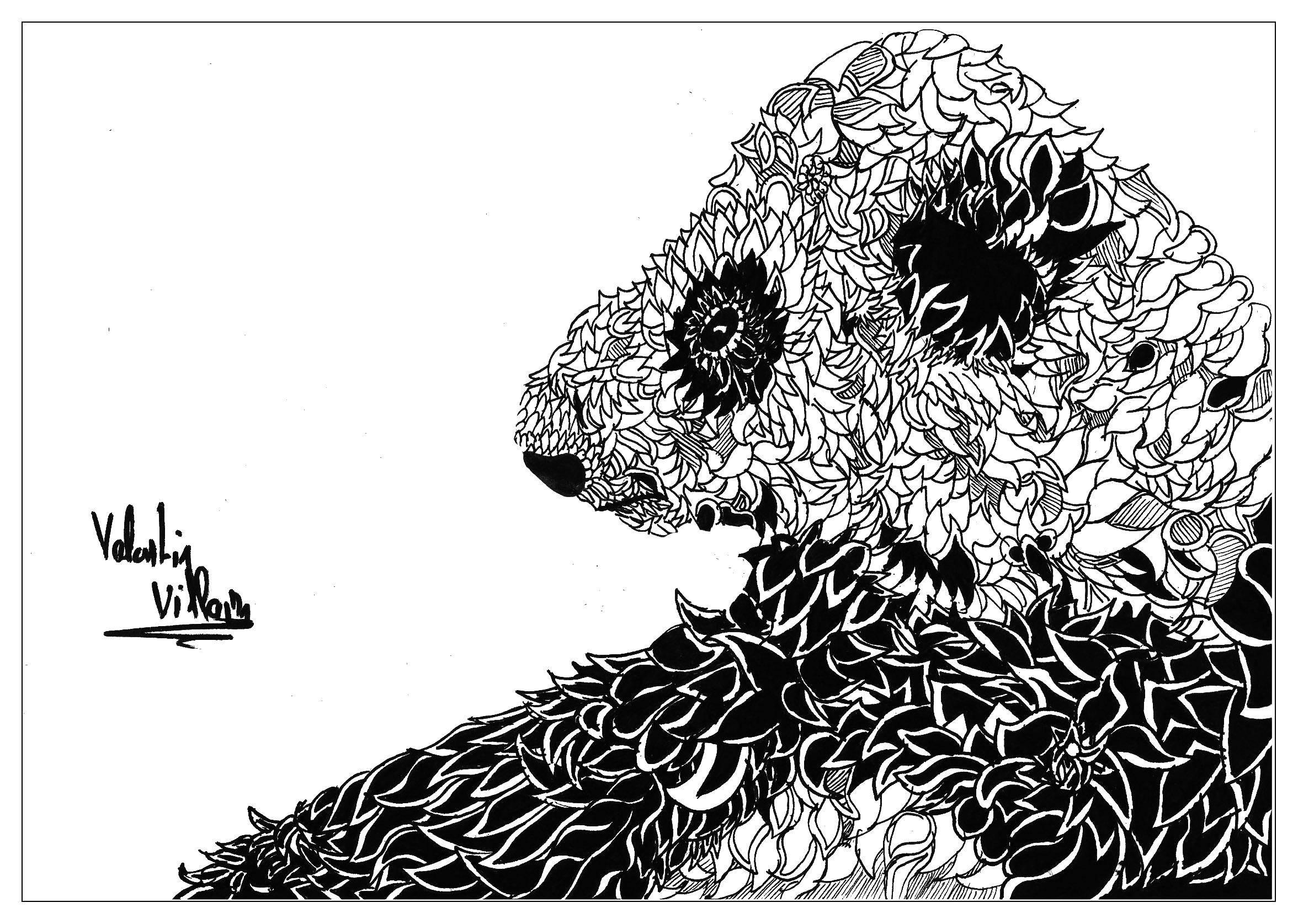 Раскраска Панда из листьев Скачать Антистресс.  Распечатать ,раскраски антистресс,