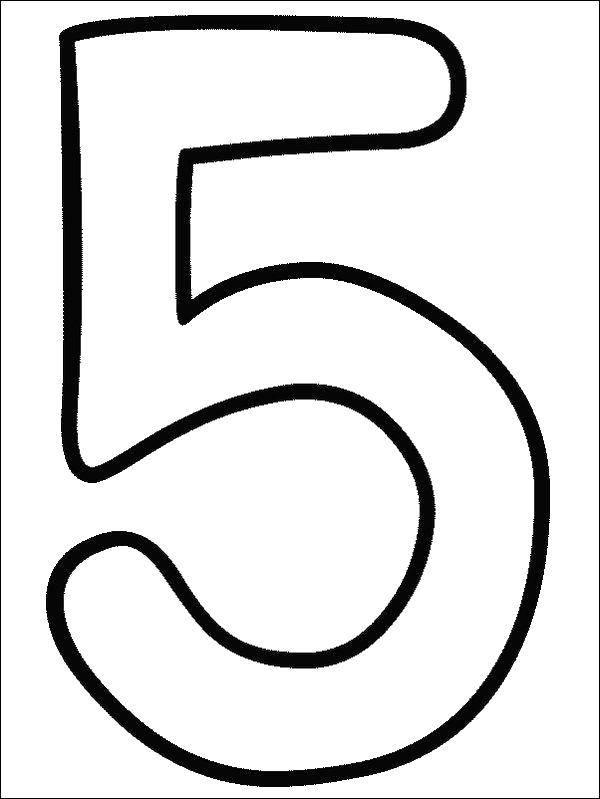 Раскраска Цифра 5 Скачать цифры, номера, 5.  Распечатать ,Цифры,