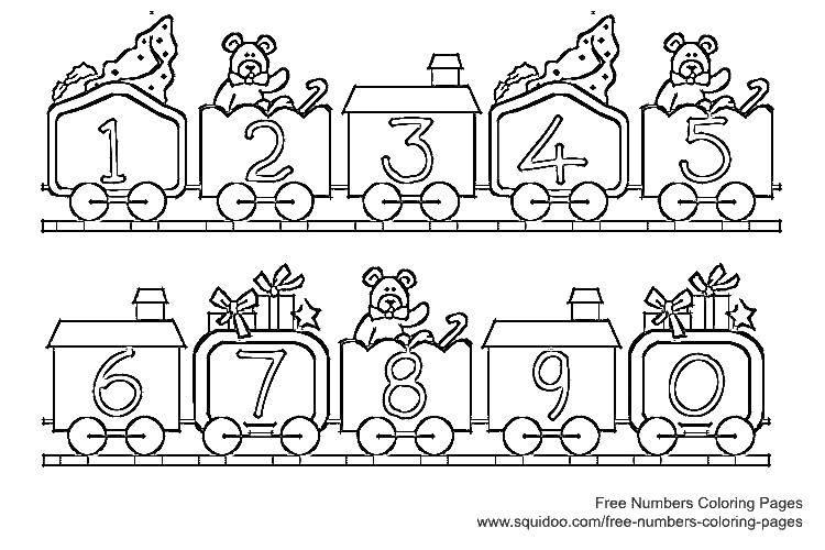 Раскраска Цифры на вагончиках Скачать цифры, номера, числа.  Распечатать ,Цифры,
