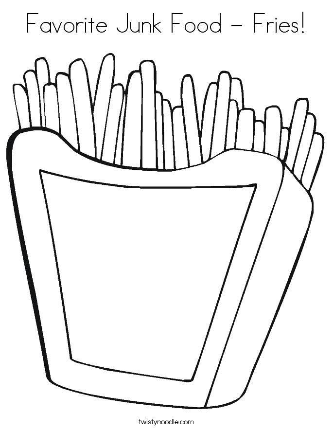 раскраски фри раскраска картошка фри еда