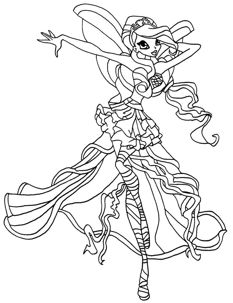 Online Coloring Pages Coloring Page Beautiful Outfit Winx Fairies