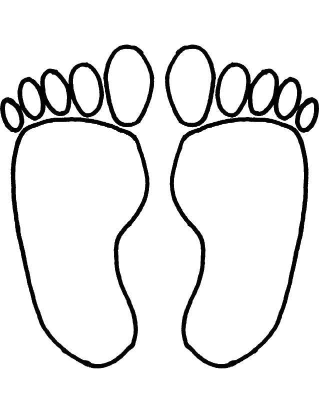 Раскраска Человеческие следы ног Скачать ,След,.  Распечатать