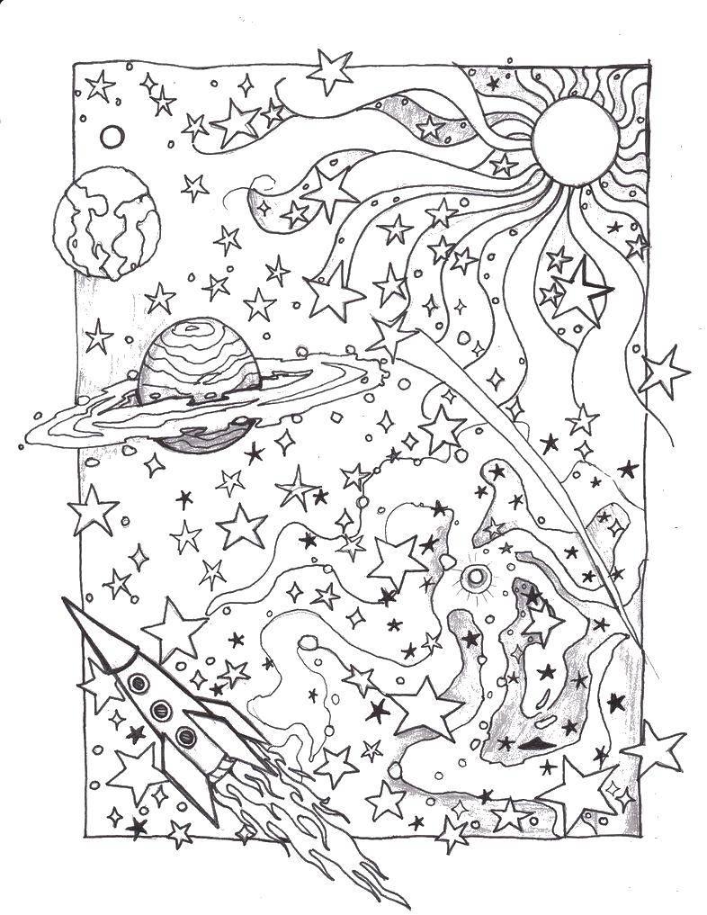 Раскраска Космический мир Скачать Космос, планета, Вселенная, Галактика.  Распечатать ,Космос,