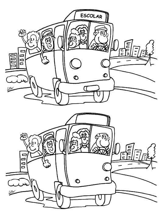 Название: Раскраска Раскраска-загадка. Категория: раскраски найди отличия. Теги: загадка, на мышление, логика, отличия, автобус.