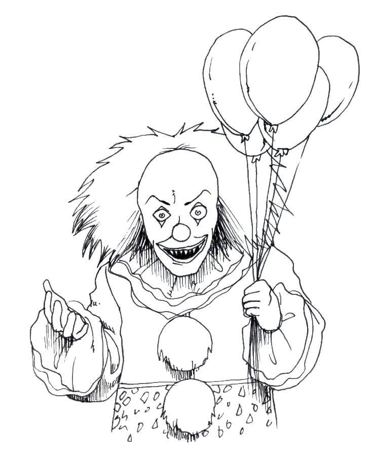 Раскраска Хэллоуин Скачать ,Клоун, цирк, злость,.  Распечатать