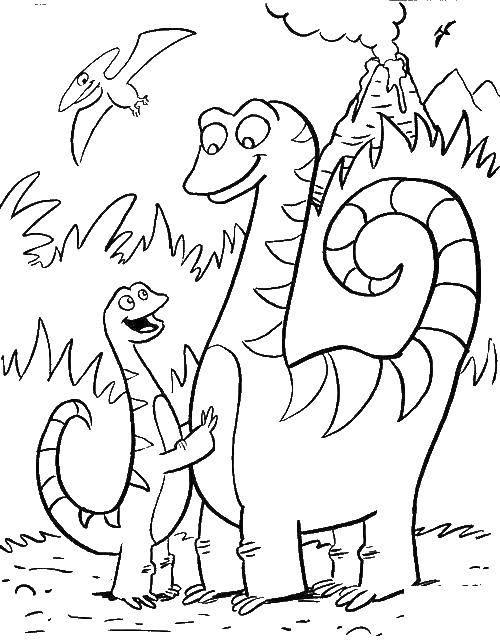 Раскраска Динозавры у вулкана Скачать Динозавры, вулкан.  Распечатать ,парк юрского периода,