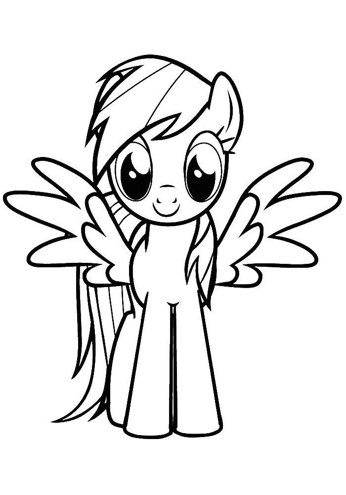 Раскраска Крылатый пони Скачать Пони, My little pony .  Распечатать ,Пони,
