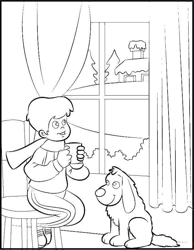 Раскраска  Скачать ,кот, корм, тарелка,.  Распечатать