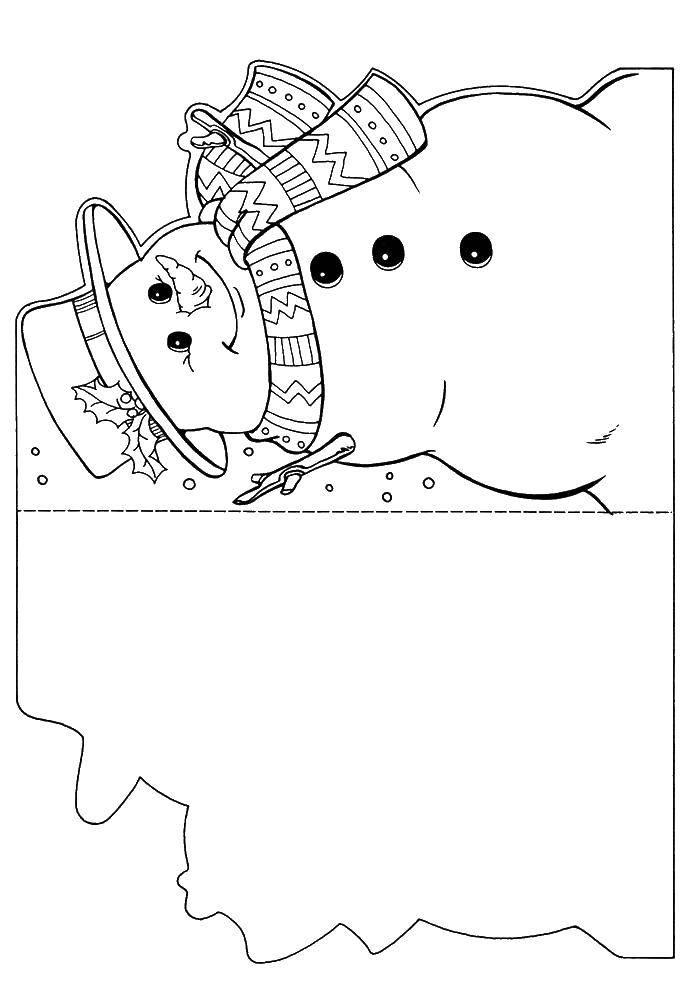 Раскраска Открытка снеговик Скачать ,снеговик, открытка,.  Распечатать
