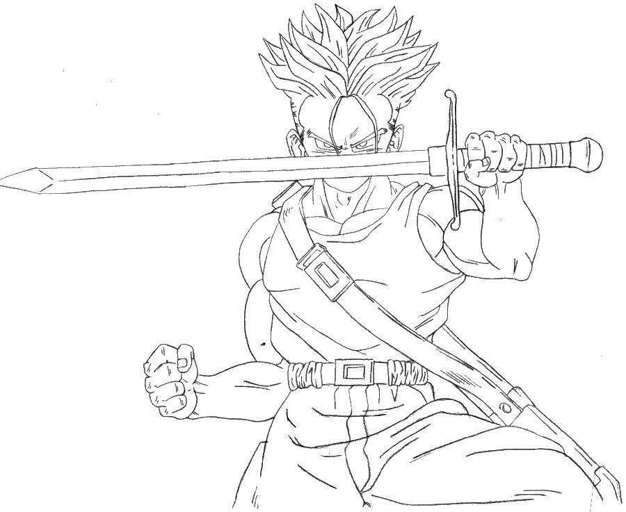 Раскраска Парень с мечем. Скачать аниме, парень.  Распечатать ,аниме,