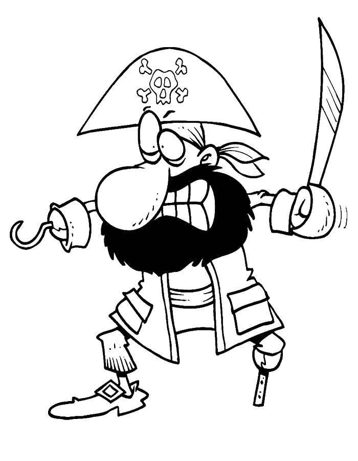 Раскраска Пират без ноги и руки Скачать пираты, корабль.  Распечатать ,пираты,