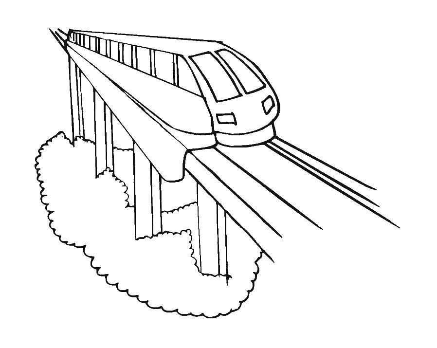 Раскраска Поезда на ресльсах Скачать поезд, транспорт, рельсы, вагон.  Распечатать ,поезд,