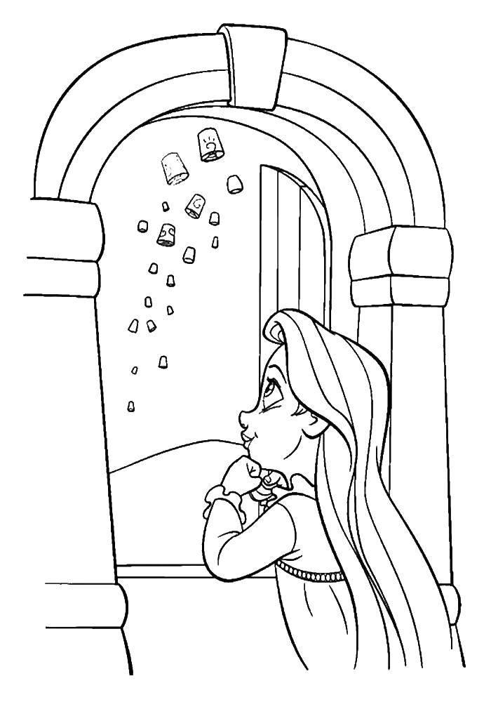 Раскраска Рапунцель наблюдает из окна Скачать Дисней, Рапунцель.  Распечатать ,раскраски рапунцель запутанная история,