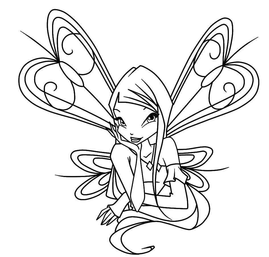 Раскраска Стелла из мультфильма winx Скачать Персонаж из мультфильма, Winx, Стелла, фея.  Распечатать ,феи,