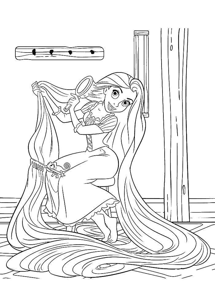 Раскраска Трудно расчесать такие волосы Скачать Дисней, Рапунцель.  Распечатать ,раскраски рапунцель запутанная история,