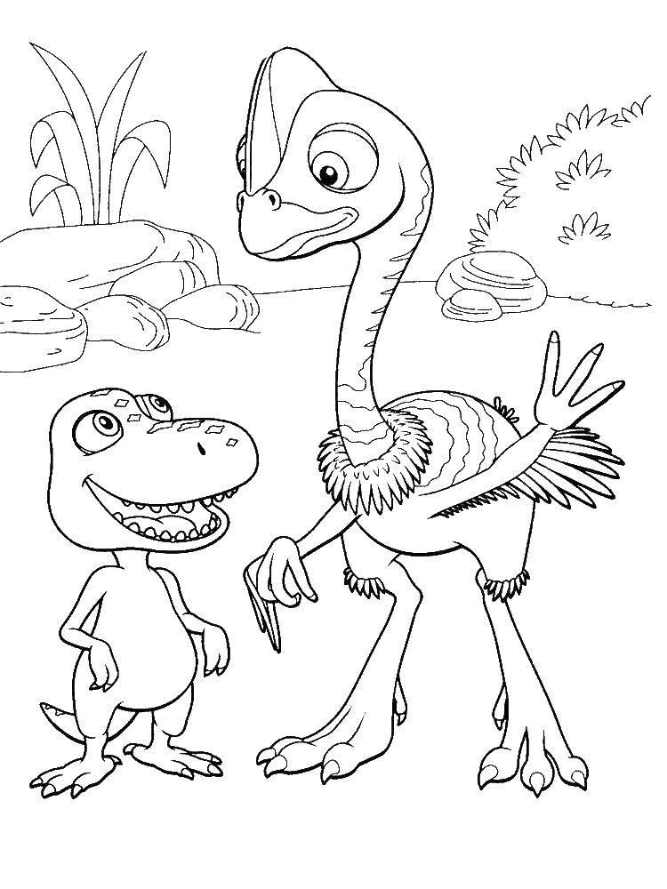 Раскраска Весёлые динозаврики разговаривают Скачать Динозавры.  Распечатать ,динозавр,