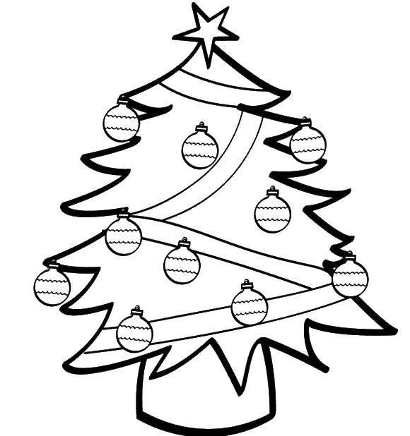 Раскраска Ёлочка украшена шарами Скачать Новый Год, ёлка, подарки, игрушки.  Распечатать ,простые раскраски,