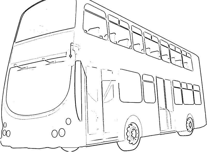 Раскраска Английский автобус, общественный транспорт англии Скачать транспорт.  Распечатать ,Транспорт на английском,