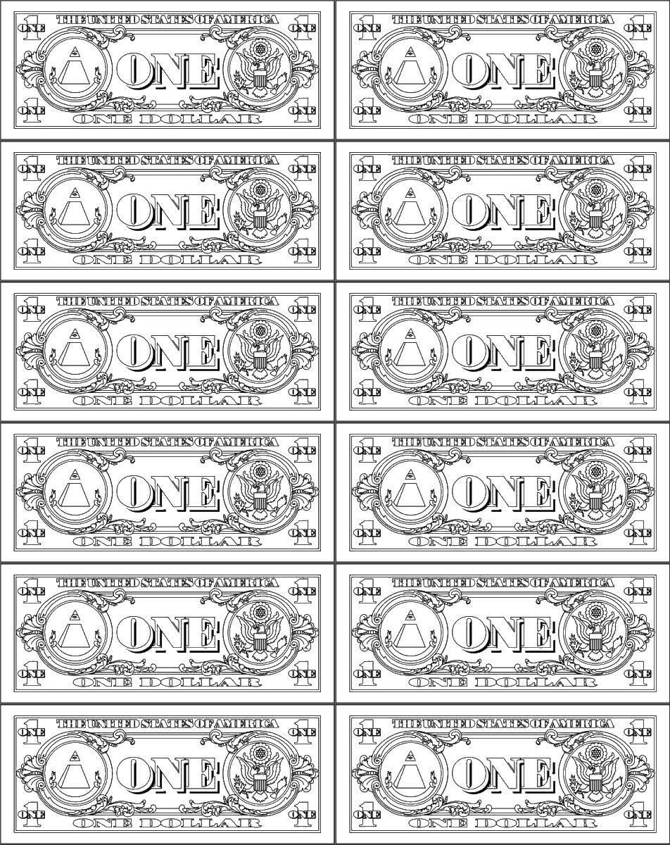 Раскраска Банкноты американского доллара, один доллар Скачать ,деньги,.  Распечатать