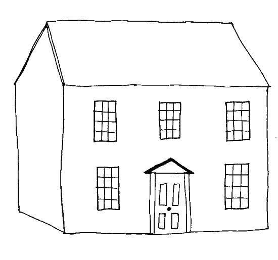 Раскраска Дом с большими окнами. Скачать дом, окна.  Распечатать ,Раскраски дом,