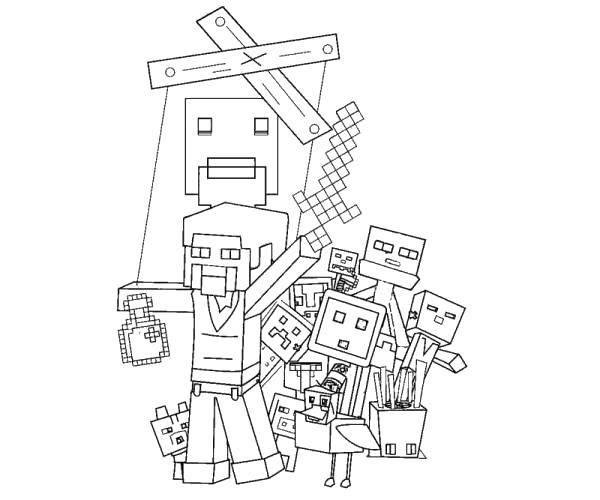 Раскраска Майнкрафт, персонажи игры Скачать Игры, Майнкрафт.  Распечатать ,Маинкрафт,