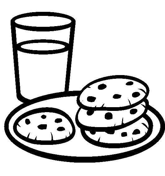 Раскраска Молоко и печенье Скачать еда.  Распечатать ,Еда,