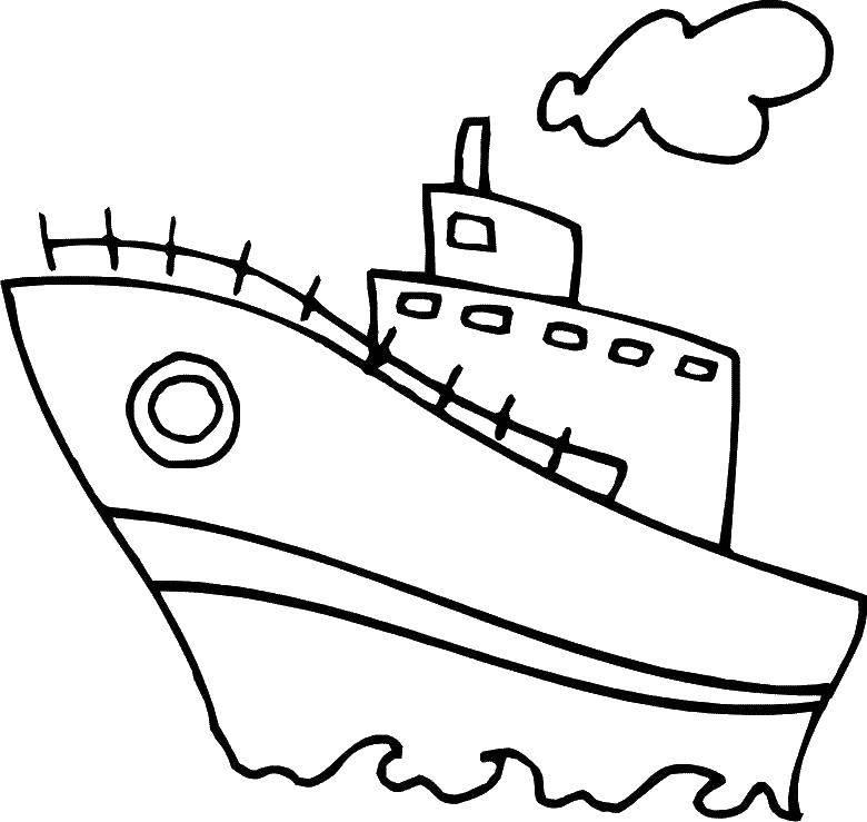 Раскраска Морской транспорт, пороход Скачать транспорт.  Распечатать ,Транспорт на английском,