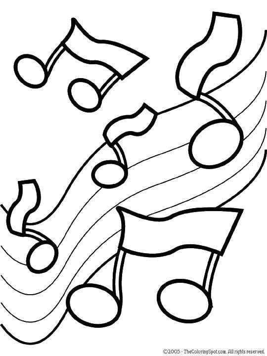 Раскраска Нотки Скачать Музыка, инструмент, музыкант, нотки.  Распечатать ,Музыка,