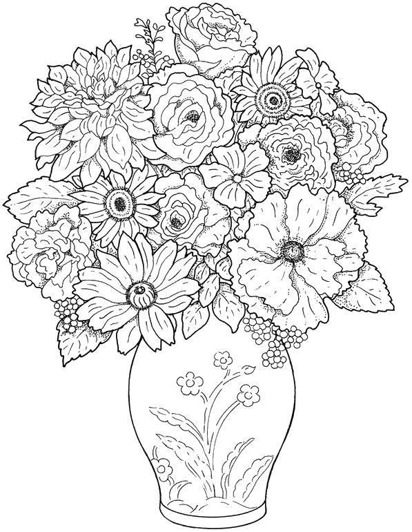 Раскраска Шикарный букет стоит в вазе Скачать Цветы, букет, ваза.  Распечатать ,цветы,