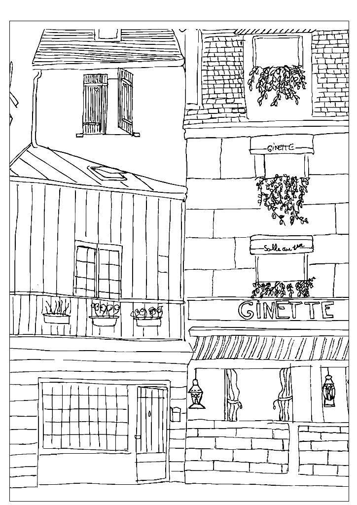 Раскраска Уютная улочка городка Скачать Город, , дома, дороги, крыши.  Распечатать ,город,