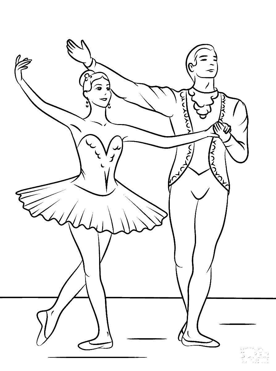 Раскраска Балерина и балерун Скачать ,балерины, сцена,.  Распечатать