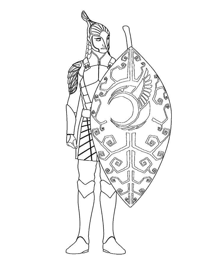 Раскраска Древний страж Скачать люди, страж, народы.  Распечатать ,Люди,