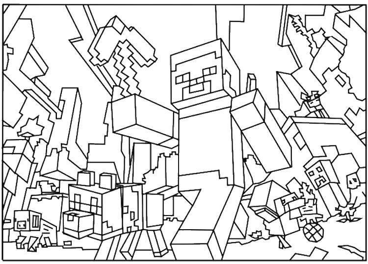 Раскраска Город майнкрафт Скачать игры, маинкрафт, город.  Распечатать ,Маинкрафт,