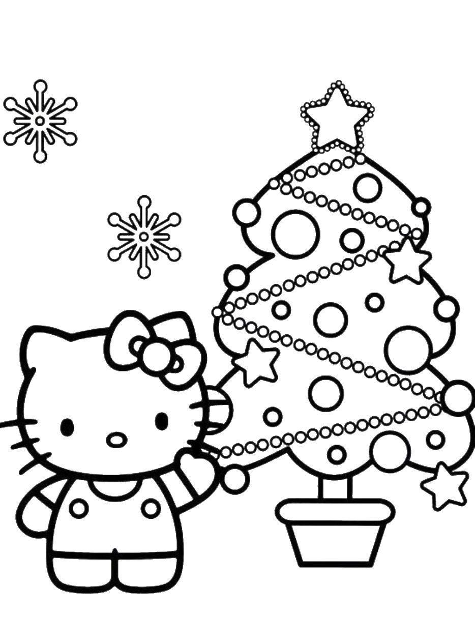 Раскраска Китти и елочка. Скачать хэллоу китти, елка, кошка.  Распечатать ,Хэллоу Китти,