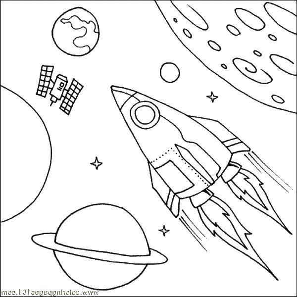 Раскраска Космос Скачать земля, глобус, ракета, спутник, марс, юпитер.  Распечатать ,космические корабли,